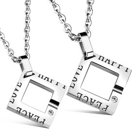 Wholesale New Fashion Stainless Steel Couples necklaceLovers TGSTN014