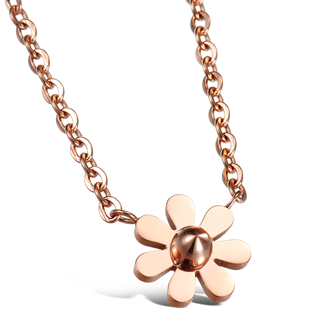 Wholesale Fashion elegant stainless steel rose gold plating daisy Necklace TGSTN128