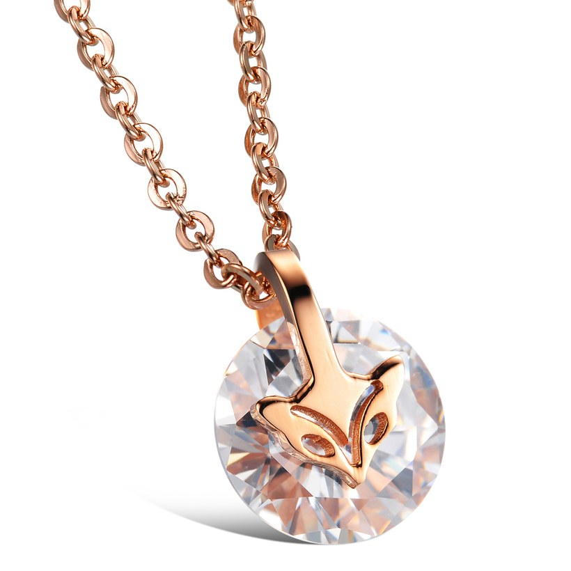 Wholesale Fashion stainless steel CZ elegant fox Necklace TGSTN129