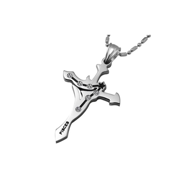 Wholesale Pisces Constellations 316L Stainless Steel Necklace TGSTN070