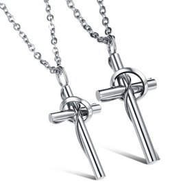 Wholesale The popularhot selling fashion stainless steel jewelry cross couples Necklace TGSTN030