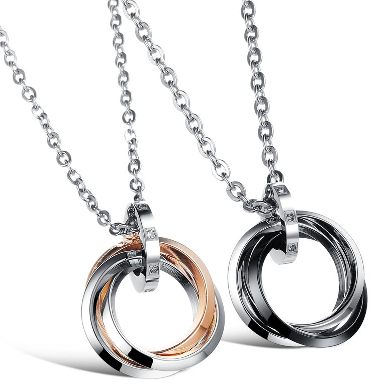 Wholesale Free shipping fashion stainless steel jewelry multiple ring couples Necklace TGSTN031