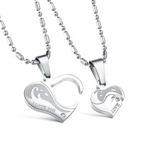 Wholesale Great Gift Love Symbols couples Necklace stainless steel Necklacepair TGSTN043