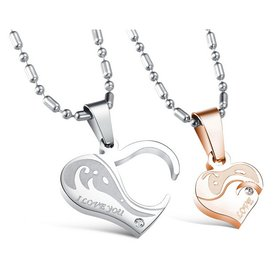 Wholesale Great Gift Love Symbols couples Necklace stainless steel Necklacepair TGSTN044