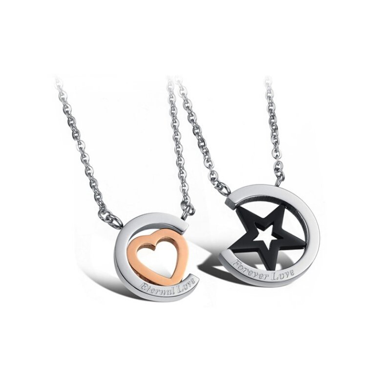 Wholesale Hot selling stainless steel starpeach hearts couples Necklace TGSTN123