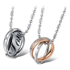 Wholesale Great Gift Love Symbols stainless steel couples Necklace CZ pendants TGSTN048