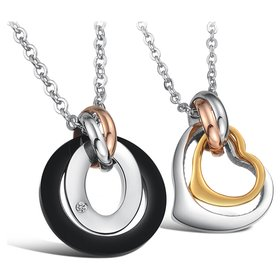 Wholesale Greatest Gift stainless steel couples Necklace CZ pendants TGSTN050