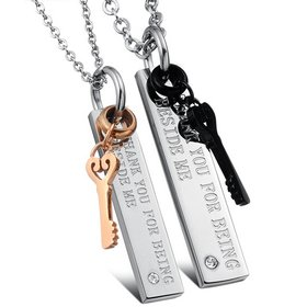 Wholesale Free shipping fashion stainless steel couple Necklace lover's jewelry TGSTN025