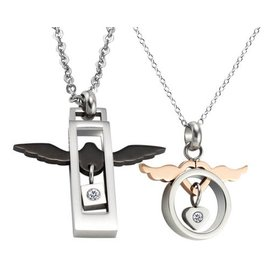 Wholesale Fashion stainless steel lover's jewelry Angel Wings couple Necklace TGSTN052