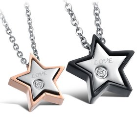 Wholesale Most popular stainless steel star couples Necklace TGSTN032