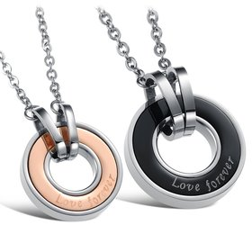 Wholesale Free shipping stainless steel couples Necklace TGSTN034