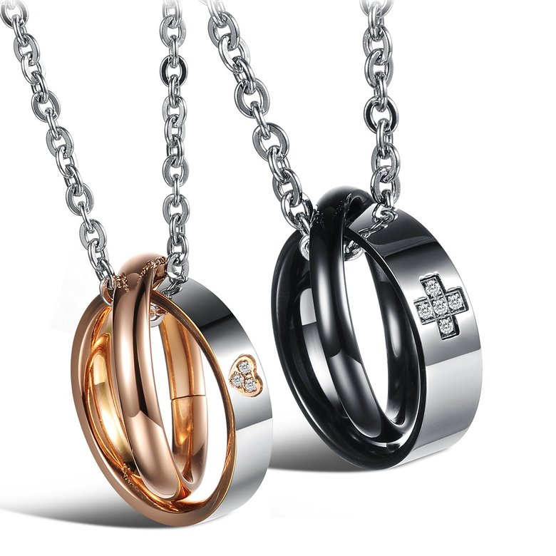 Wholesale Most popular rose gold stainless steel couples Necklace TGSTN040