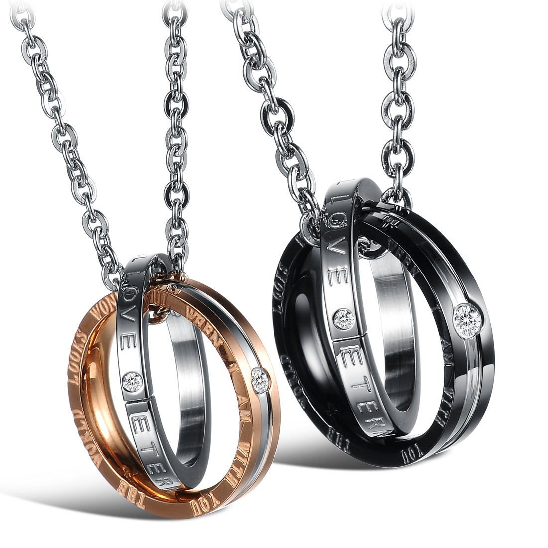 Wholesale Fashion rose gold stainless steel couples Necklace TGSTN041