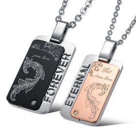 Wholesale The best gifts stainless steel couples Necklace TGSTN045