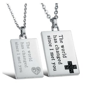 Wholesale The best gifts stainless steel couples Necklace TGSTN046