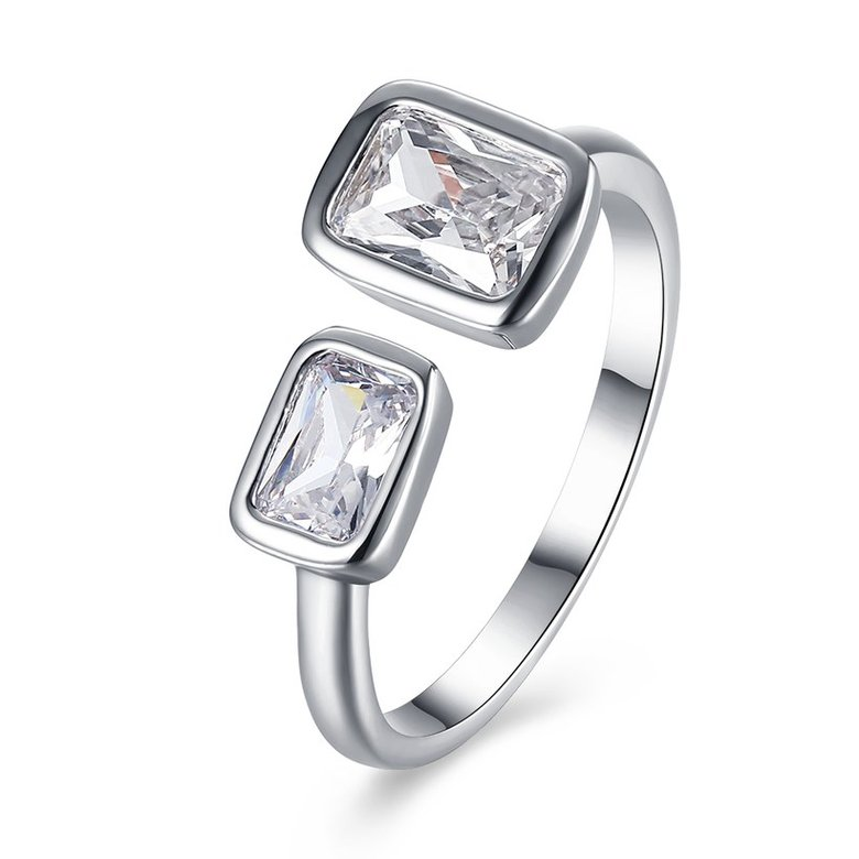 Wholesale Romantic Platinum Ring For Women With white square Dazzling Crystal Cubic Zircon Stone Engagement Rings TGCZR311