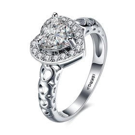 Wholesale Romantic Platinum heart shape White CZ Ring For Women Setting Elegant wedding Valentine's Day Gift For Women Hot Selling TGCZR023