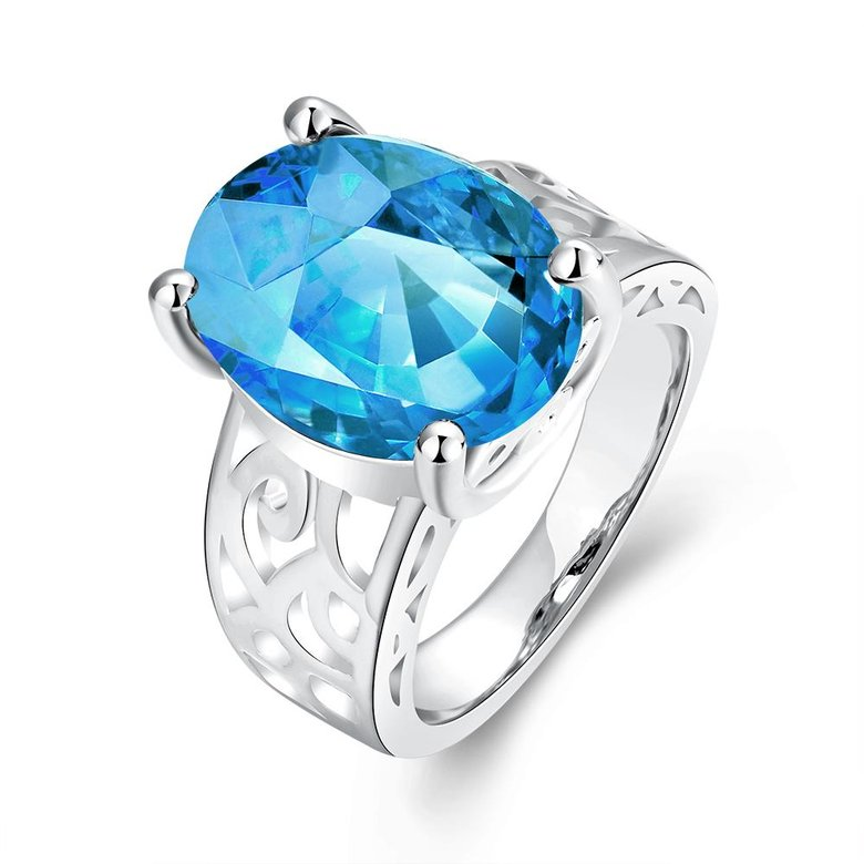 Wholesale Classic Platinum Ring Oval blue Zircon Women Ring Gorgeous Wedding Anniversary Birthday Gift for Wife/Mother/Grandmother TGCZR340