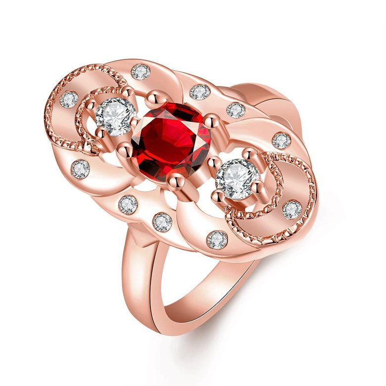 Wholesale Vintage Big Hollow Flower Rings rose Gold red Color oval Zircon Rings For Women wedding party Jewelry TGCZR436