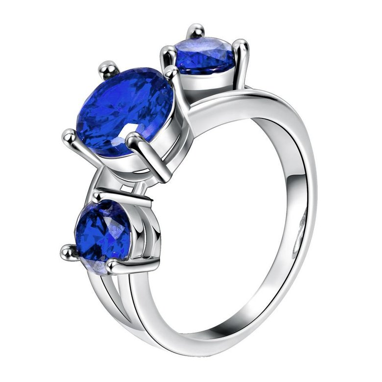 Wholesale Classic Platinum Round blue CZ Ring Luxury Ladies Party engagement wedding jewelry Best Mother's Gift TGCZR085