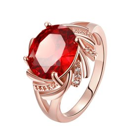Wholesale Classic Rose Gold Round red CZ Ring red Luxury Ladies Party engagement jewelry Best Mother's Gift  TGCZR016
