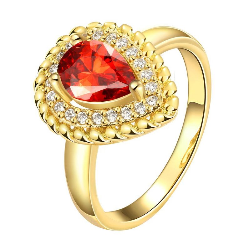 Wholesale Classic Hot selling Red Ruby water drop Gemstone Wedding Ring For Women Bridal Fine Jewelry Engagement 24K Gold Ring TGCZR267
