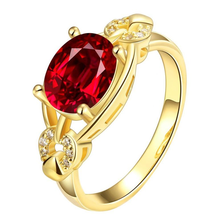 Wholesale Romantic 24k gold Court style Ruby Luxurious Classic Engagement Ring wedding party Ring For Women TGCZR278
