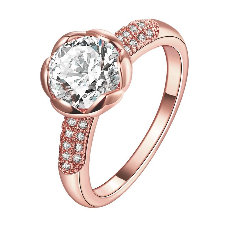 Wholesale Fashion Romantic Rose Gold Plated rose flower white CZ Ring nobility Luxury Ladies Party engagement jewelry Best Mother's Gift  TGCZR290