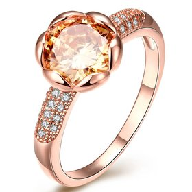 Wholesale Fashion Romantic Rose Gold Plated champagne CZ Ring nobility Luxury Ladies Party engagement jewelry Best Mother's Gift  TGCZR018