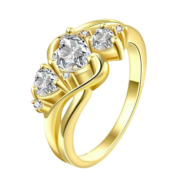 Wholesale Classic 24K Gold Heart White shape CZ Ring for women Engagement Wedding Band Rings for women Bridal Jewelry TGCZR306