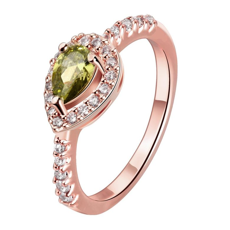 Wholesale Classic Rose Gold Water Drop Green CZ Ring for women Multi-Color Jewelry Rings Wedding Valentine's Day Gift TGCZR309