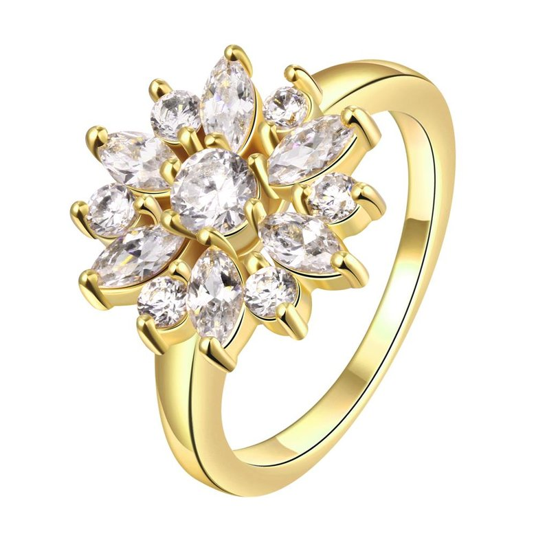 Wholesale Clearance sale New Fashion Wedding Flower Jewelry White Zircon 24k Gold Color Ring Christmas Gifts Elegant Gift TGCZR318