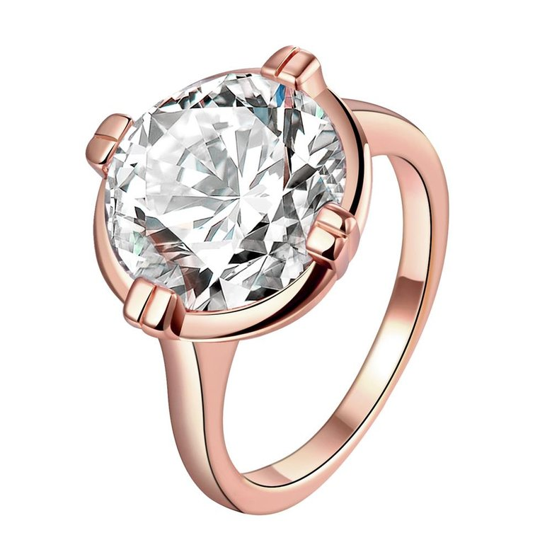 Wholesale Engagement rose gold Finger Ring for Women Big round Stone Clear Zirconia Rings Crystal Statement Fine Jewelry Female Gifts TGCZR328
