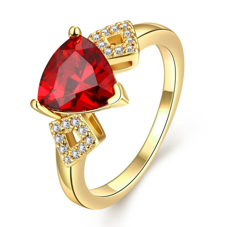 Wholesale Classic 24K Gold Geometric Red triangle Ring 5A CZ Zirconia Wedding Jewelry  Engagement for Women Gift TGCZR466