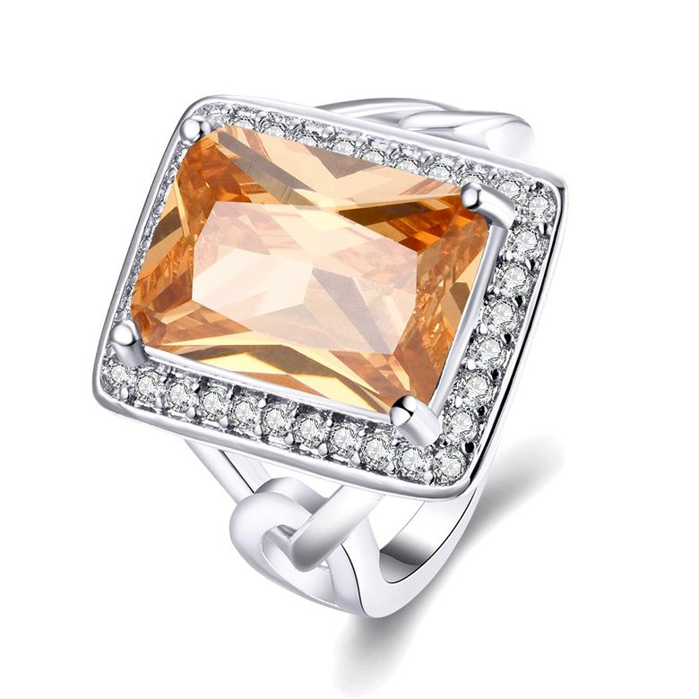 Wholesale Classic Platinum Square Large champagne Gem Rings Bohemian Style Wedding Ring for Women Party Engagement Jewelry  TGCZR041