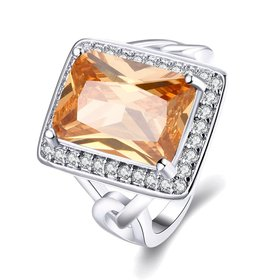 Classic Platinum Square Large champagne Gem Rings Bohemian Style Wedding Ring for Women Party Engagement Jewelry
