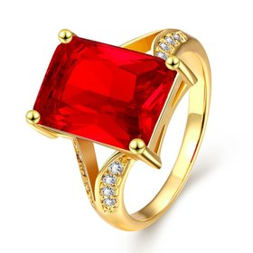 Wholesale ring series Classic 24K Gold Plated red big square Zirconia Luxury Ladies Party wedding jewelry Best Mother's Gift