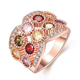 Wholesale Classic Rose Gold Multicolor CZ Ring Band for Daily Accessory For Women Elegant wedding Valentine's Day Gift Hot Selling TGCZR012