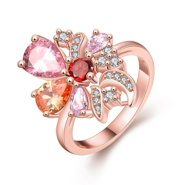Wholesale Unique Design Top Sale Rose Gold Color Colorful AAA Zircon Wedding bijoux Flower Rings Jewelry For Women Gift Party TGCZR131