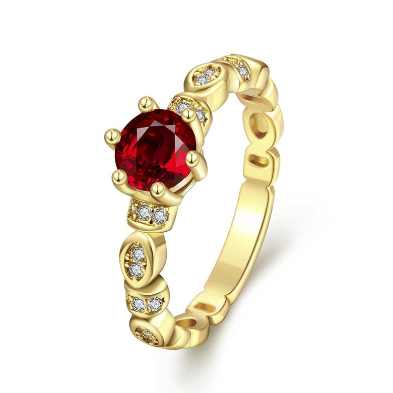 Wholesale Fashion jewelry from China Trendy round red AAA+ Cubic zircon Ring  For Women Romantic Style 24 k Gold color Hot jewelry TGCZR325