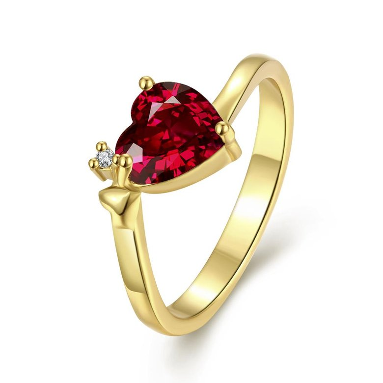 Wholesale Hot selling red zircon Stone Love Heart Engagement rings 24K gold Rings For Women Wedding Jewelry Bridal Accessories TGCZR341