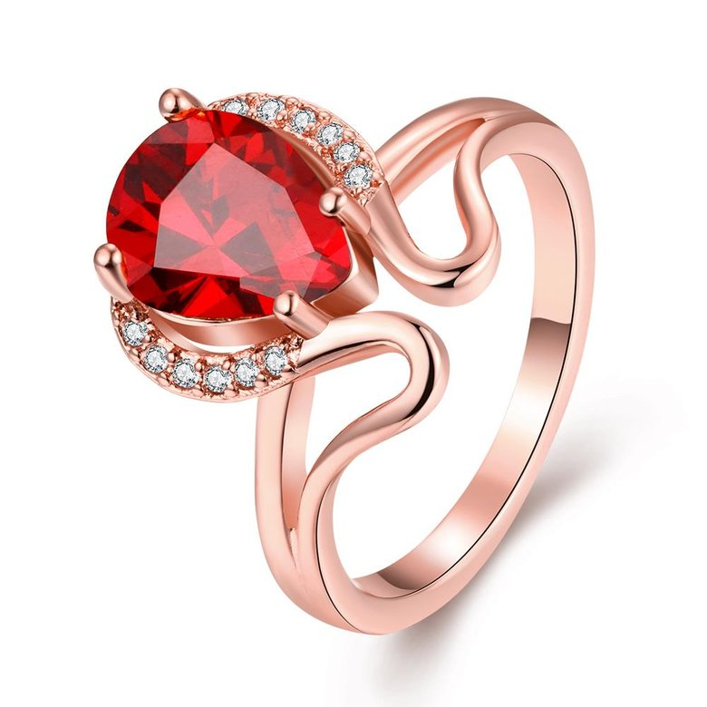 Wholesale European and American Ring Plated Rose Gold Love water drop Red Crystal Proposal Ring for Women Jewelry Engagement Ring TGCZR364