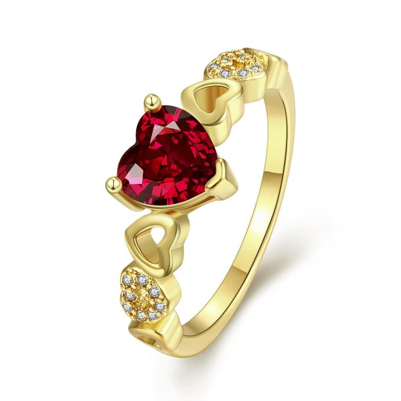 Wholesale jewelry from China Trendy 24K gold Ring heart shape red Zircon for Women Fine Jewelry Wedding Party Gifts TGCZR380