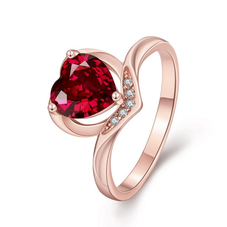 Wholesale European and American Ring Plated Rose Gold Love heart Red Crystal Proposal Rings for Women Jewelry Engagement jewelry TGCZR391
