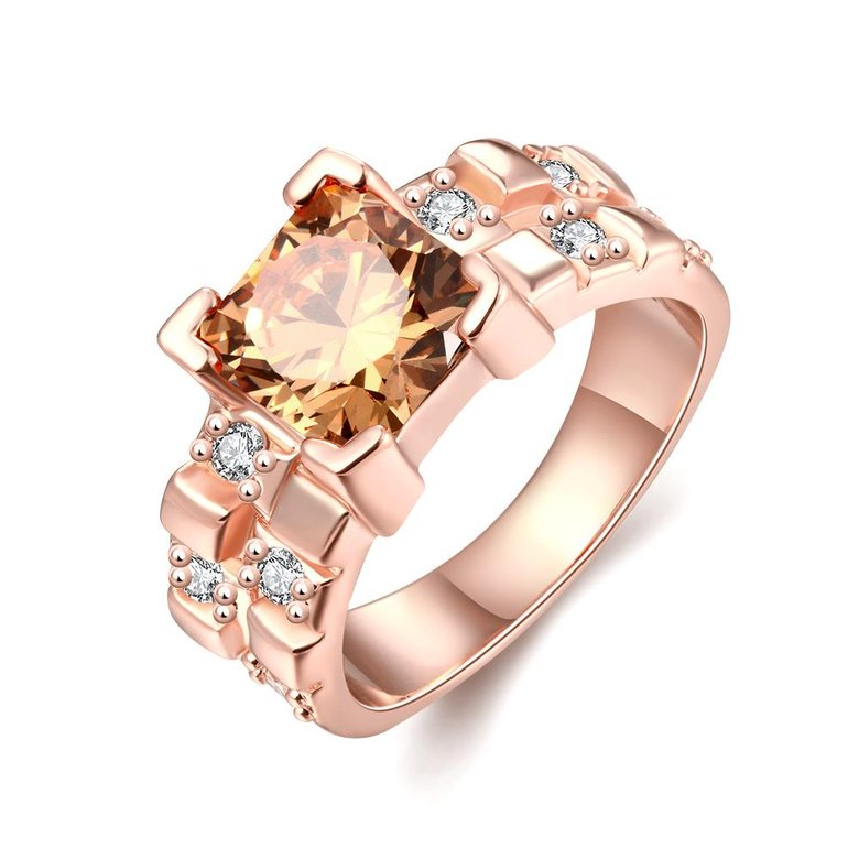 Wholesale Classical rose gold Rings square Shape Diamond Wedding rings yellow zircon Ring For Women Gift Wedding Bands jewelry TGCZR406