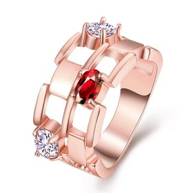 Trendy Rose Gold Geometric hollow Red and white CZ Ring for women Fashionr Wedding rings CZ Crystal Jewelry