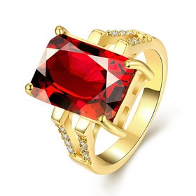 Wholesale ring series Classic 24K Gold plated red CZ Ring Luxury Ladies Party jewelry Best Mother's Gift