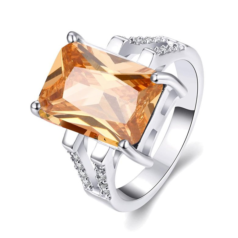 Wholesale Classic Platinum Square Large champagne Gem Rings Bohemian Style Wedding Ring for Women Party Engagement Jewelry  TGCZR042
