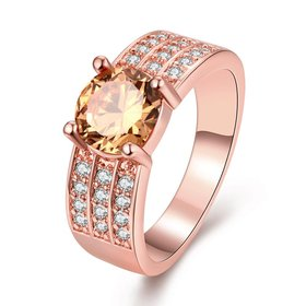 Romantic Rose Gold Round champagne CZ Ring For Women Crystal Stone Engagement Ring