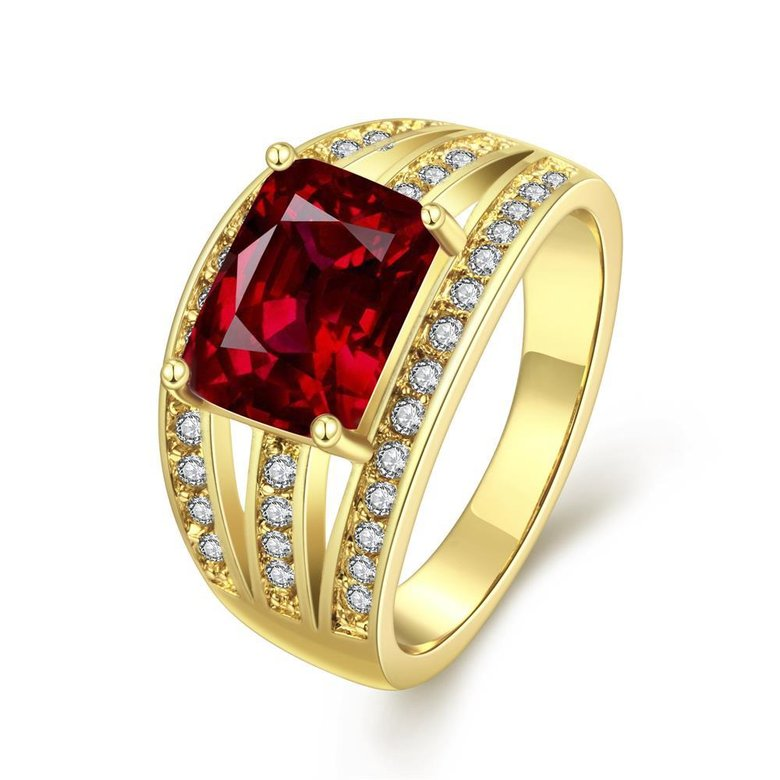 Wholesale wedding rings series Classic Gold Plated red big cubic Zirconia Luxury Ladies Party wedding jewelry Best Mother's Gift TGCZR069
